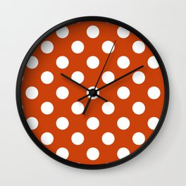 Sinopia - red - White Polka Dots - Pois Pattern Wall Clock