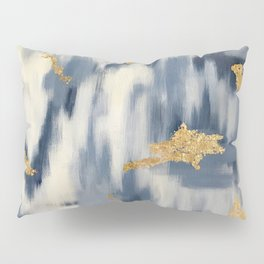Blue and Gold Ikat Pattern Abstract Pillow Sham