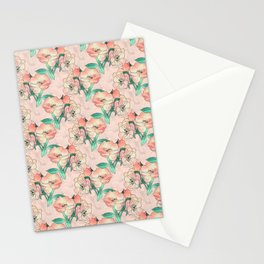 Pretty Watercolor Pink Peach Floral Girly Design Stationery Cards