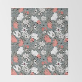 Seamless pattern design with hand drawn flowers and floral elements Throw Blanket