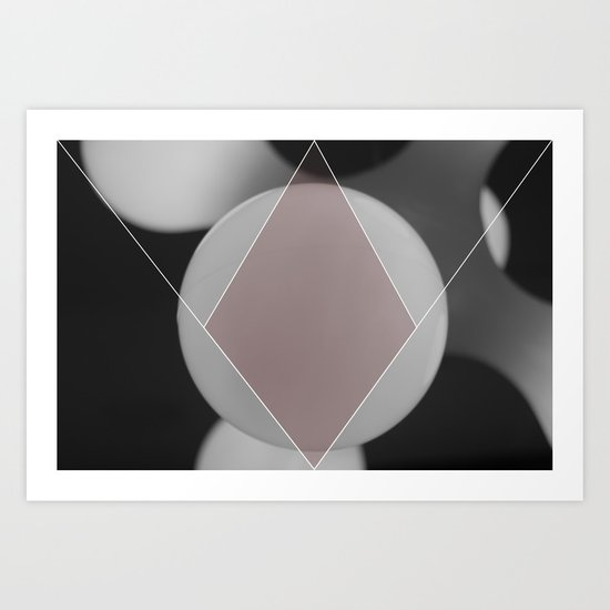 COLOUR DIAMONDS B&W (RED) Art Print