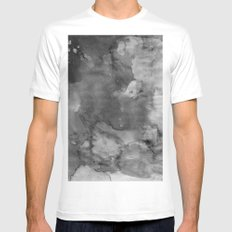 Black watercolor Mens Fitted Tee White MEDIUM