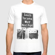 South Tacoma Way exit MEDIUM Mens Fitted Tee White