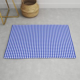 Small Cobalt Blue and White Gingham Check Plaid Squared Pattern Rug