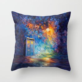 Tardis Doctor Who Rainbow Abstract Throw Pillow