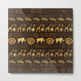 Ethnic African Pattern- browns and golds #1 Metal Print