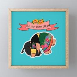 La Vida es un Juego Framed Mini Art Print
