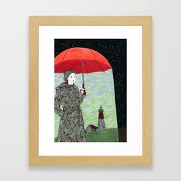 Red Umbrella Framed Art Print