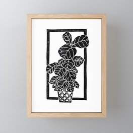 Fiddle Leaf Fig Block Print Framed Mini Art Print