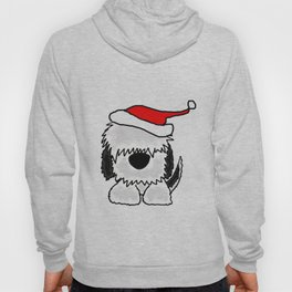 Funny Christmas Old English Sheepdog in Santa Hat Artwork Hoody