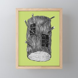 Mysterious Forest Creatures In Tree Log Framed Mini Art Print