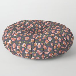 Poppies Hand-Painted Watercolors in Rose Pink on Charcoal Grey Floor Pillow