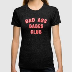 BAD ASS BABES CLUB Womens Fitted Tee Tri-Black SMALL
