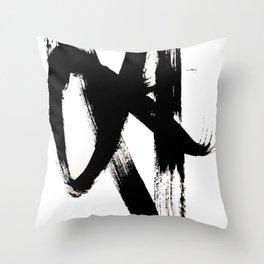 Brushstroke 2 - simple black and white Throw Pillow