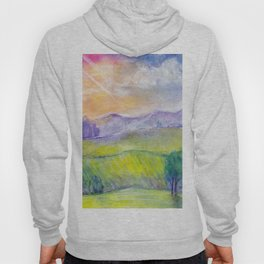 Abstract watercolor landscape with sunset, hills and fields Hoody