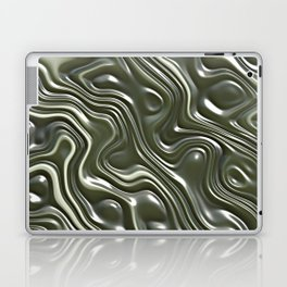 Modern Green Gray White 3D Liquid Swirls Pattern Laptop & iPad Skin