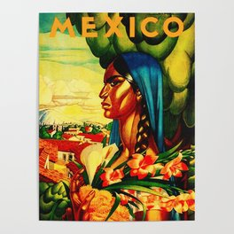 Vintage Mexico Travel - Woman with Flowers Poster