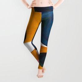 Mid Century Modern Abstract Minimalist Retro Vintage Style Pink Navy Blue Yellow Rollie Pollie Ollie Leggings