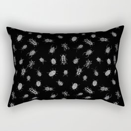 Beautiful Bugs Black Rectangular Pillow