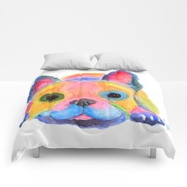 Nosey Dog French Bulldog ' AM I FRENCH ? ' by Shirley MacArthur Comforters