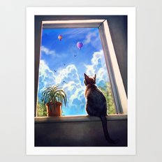 It's a big world out there Art Print