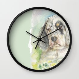 ENGLISH SETTER PUPPY Cute dog portrait on the dandelions meadow Wall Clock