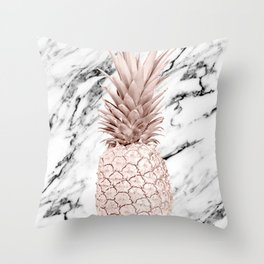 Rose Gold Pineapple on Black and White Marble Throw Pillow
