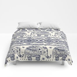 Vintage graphic vector Indian lotus ethnic elephant Comforters