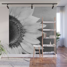 B&W Sunflower Wall Mural