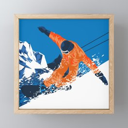 Snowboard Orange Framed Mini Art Print