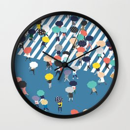 Crossing The Street On a Rainy Day - Blue Wall Clock