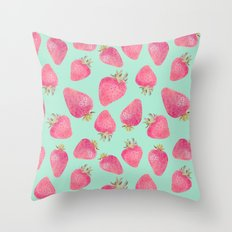 Strawberry pattern square print Throw Pillow