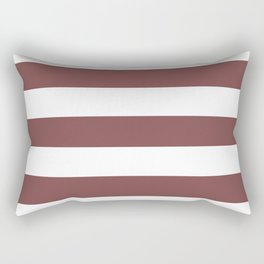 Tuscan red - solid color - white stripes pattern Rectangular Pillow