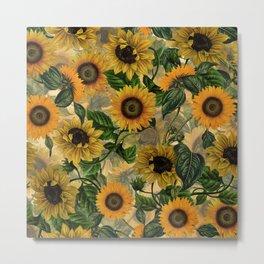 Vintage & Shabby Chic - Sunflowers Flower Garden Metal Print