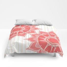 Pastel color coral pink floral mandala stripes Comforters