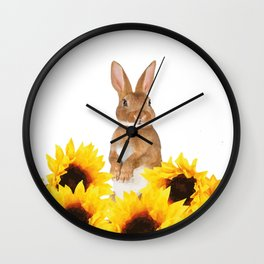 Sunflower Rabbit Wall Clock