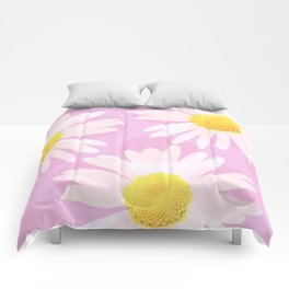 Flowers and dots on a pink background - lovely summery - #daisy #society6 #buyart Comforters