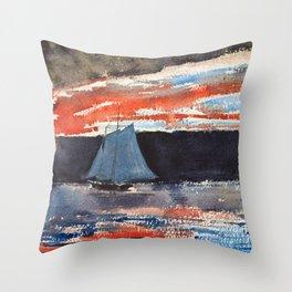 Schooner At Sunset - Digital Remastered Edition Throw Pillow