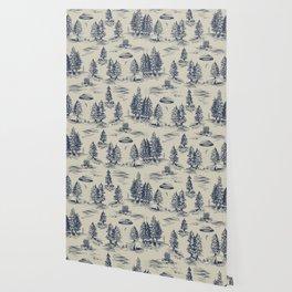 Alien Abduction Toile De Jouy Pattern in Blue Wallpaper