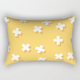 Modern Swiss Cross Yellow Rectangular Pillow