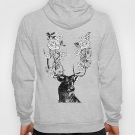 The Stag and Roses | Black and White Hoody