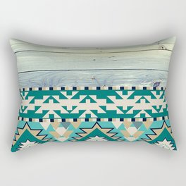 Aztec Pattern on Wood Panel NOT REAL WOOD - Triba Rectangular Pillow