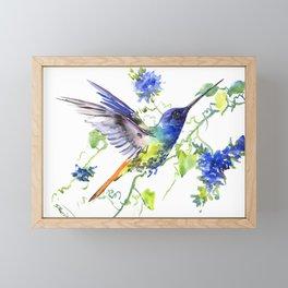 Hummingbird and Deep Blue Flowers, flying bird flowers design birds and flowers Framed Mini Art Print