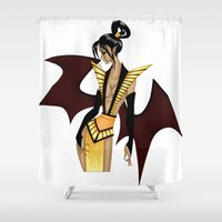 egyptian Shower Curtains featuring Egyptian Demon by artwaste