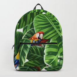 tropical leaves macaw pattern Backpack