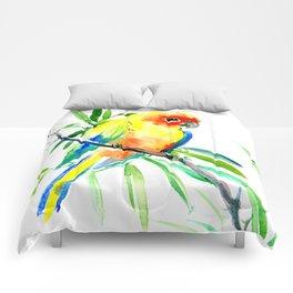 Sun Conure Parakeet, tropical yellow green bird decor Comforters