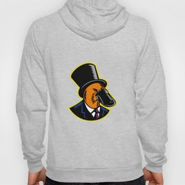 Duck-billed Platypus Tophat Woodcut Color Hoody