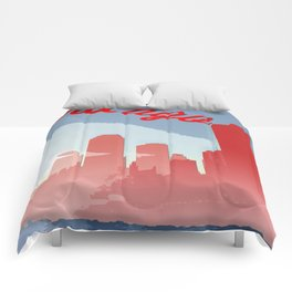 Chicago Skyline Travel Poster Comforters