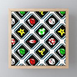 Super Mario Kart | items pattern Framed Mini Art Print