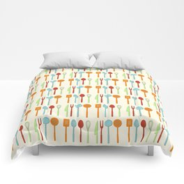 Kitchen Utensil Colored Silhouettes on Cream Comforters